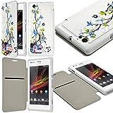 Seluxion - Coque Housse Etui à rabat latéral et porte-carte pour Sony Xperia M avec...