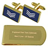 Select Gifts RAF Airforce Insignias de Rango de Sargento de Vuelo de Tono Oro Gemelos Money Clip Grabado Set de Regalo