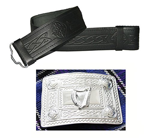Celtic style leather belt and buckle - many sizes and designs to choose from Black Embossed Black with Irish Harp Buckle 40 inches