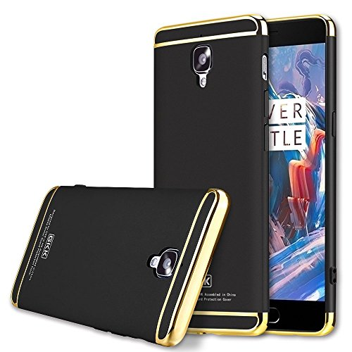 *CASECART* GKK 3 IN 1 Luxury Electroplated Ultra Slim Shield Phone Case for OnePlus 3 A3000 Three Case Hard One Plus 3 - BLACK/GOLD