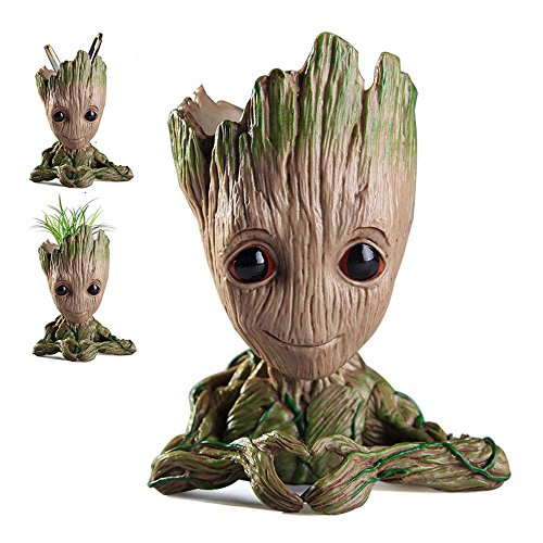AOLVO bébé Groot Pot de Fleurs, DE Nouveaux Groot Pot de Fleurs/Stylo Support bébé Figurines Guardians of The Galaxy Pots de Fleurs Cadeaux