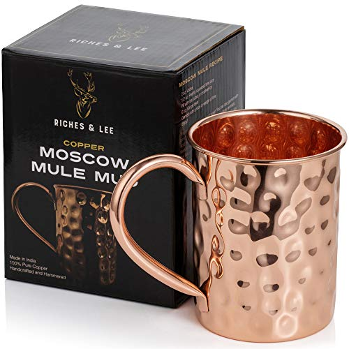 Moscow Mule Copper Mug x 1 - Handmade with 100% Copper - 16oz Roosevelt Style Mugs with Hammered Effect in Gift Box with Bonus Cocktail Recipe eBook - Kitchen Cup for Drinking, Dining & Entertaining