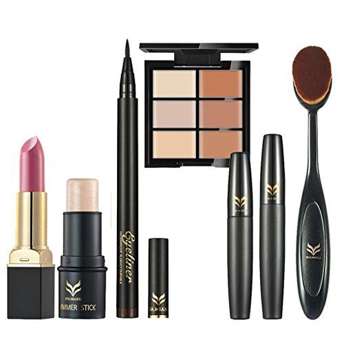 MagiDeal Profi Make-up-Set mit 6 Stücke - Matte Lippenstift + Schimmer Pen / Highlighter Stick + Schwarz Eyeliner Pen + Mascara + Concealer Palette und Zahnbürste Make-up (Stick Make Up Schwarz)