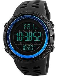 mastop multifunción 2LED de los relojes digitales de la zona de tiempo los hombres deportes al aire libre militar relojes correa de PU negro