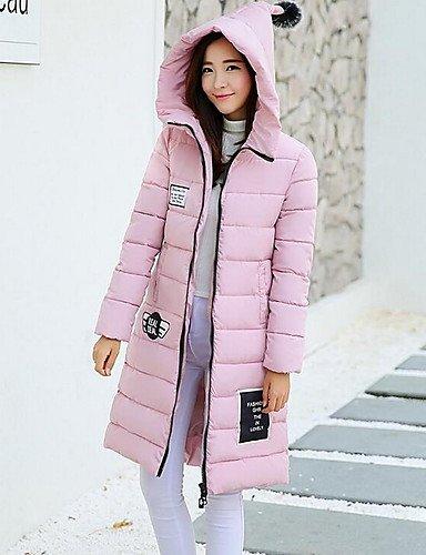 GS~LY donna imbottito solido con cappuccio manica lunga , rosa , m