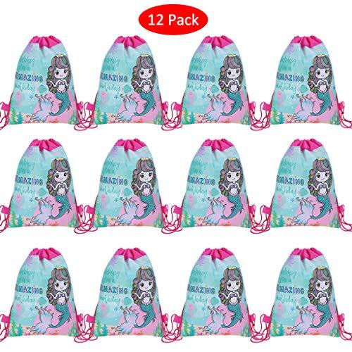 Amycute 12 Stück Meerjungfrau Partei Taschen ,Kindergeburtstag Gastgeschenke Party Beutel, Give Aways Partytüten, Mermaid Mitgebseltüten, Sport Rucksack Tasche,Mermaid Party Supplies.