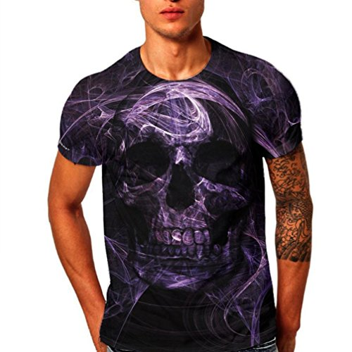 KPILP Mens T-Shirt Skull Fashion3D Printing Short Sleeve Tops Father's Day Gift