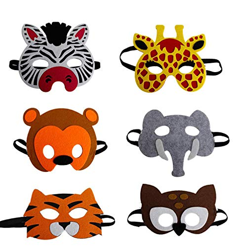 U&X Filz Masken Kinder Tiere, für Kinder ab 2 Jahren, zum Verkleiden, 6 Stück ,One Size, Mehrfarbig