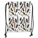 Custom Printed Drawstring Backpacks Bags,Feather House Decor,Collection of Types of Feathers in Vivid Tones with Grey Splashes Image,Multi Soft Satin,5 Liter Capacity,Adjustable String Closure,TH