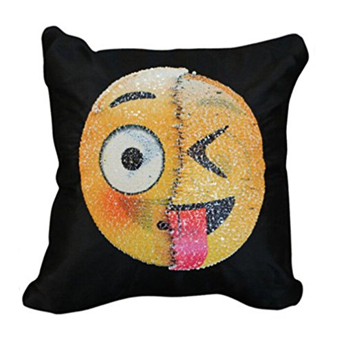 Lalang Emoji Pillowcase Magic Changeable Face Colour Reversible Sequin Cushion Cover (5#)