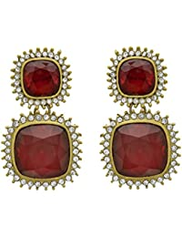JFL - Fusion Ethnic One Gram Gold Plated Emerald Diamond Designer Earring For Women And Girls.