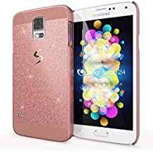 Samsung Galaxy S5 S5 Neo Funda Carcasa de NICA, Protectora Movil Purpurina Cubierta Dura Delgado Glitter Hard-Case, Bumper Cover Lentejuela Ultra-Fina para Telefono Samsung S5 Neo S5 - Rosa Gold Oro