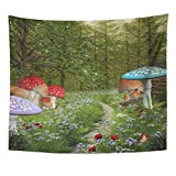 TRUIOKO Tapisserie Tapestry Wall Hanging Magic Enchanted Nature Series Pathway dans The Green Fantasy Forest Tree Fairy Polyester Fabric Home Decor for Living Room Bedroom Dorm 50 x 60 Pouces