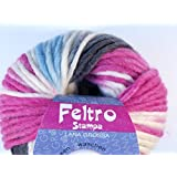 Lana Grossa Feltro Stampa 1406rohweiß/azul claro/rosa/antracita 50g