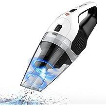 Aspirabriciole,Holife【Ⅱ Generazione】Aspirapolvere a Mano, Vacuum Cleaner a Batteria Li-ion da 100W(Max)/14.8V, Autonomia di 30min, Ideale per Casa/Ufficio/Auto (Secco 600ml/Umido 100ml, Nero e Bianco)