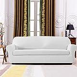 Subrtex kariert Sofabezug Sofahusse Sesselbezug Stretchhusse Sofaüberwurf Couchhusse Spannbezug in verschiedenen Farben (2-Sitzer Sofa, Weiß)