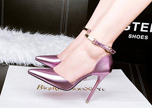 Aisun Damen Elegant Klassisch Spitz Zehen Geschlossen Metall Knöchelriemchen Sandale Pink