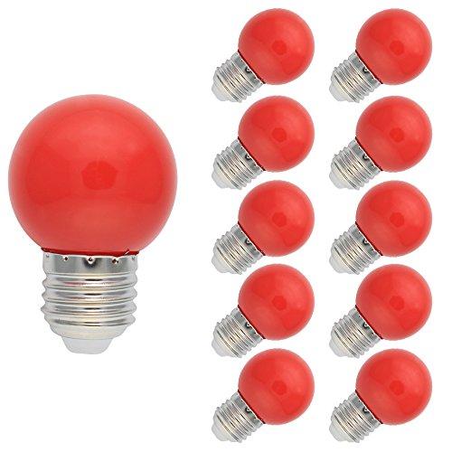 10 Stück E27 Farbig LED Leuchtmittel Birnenform Bunt Tropfenlampe Glühbirnen Biergartenlichterkette Partybeleuchtung Rot