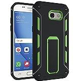 Samsung Galaxy A5 2017 SM-A520F Case Outdoor Grün inkl. Panzerglas 9H transparent Cover Hybrid Schutz Hülle Sturz Displayschutzfolie Bumper Black Schwarz Green