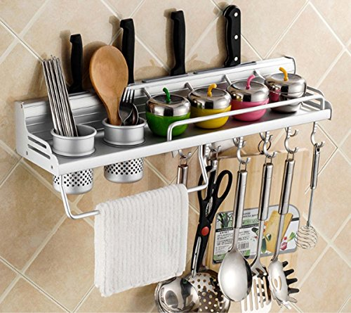 Utensil Rack, Space Aluminium Mehrzweck Organizer Küche Regal Rack Pan Pot Rack, Gewürzregal, Löffel Kelle Aufhänger, Messerblock, Handtuchhalter ( Size : 60CM )