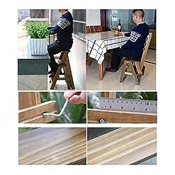 GAOJIAN Scaletta pieghevole in legno massello a tre strati multifunzionale sgabello alto scala scaletta sgabello scala domestica piccola scala in legno massello doppio uso scaletta pieghevole scaletta in legno