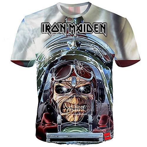 Iron Maiden Camiseta Estilo Simple patrón de Dibujos Animados de...