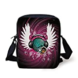 Popstar Party,Disco Ball with Headphones and Angel Wings Vibrant Swirl with Circles,Magenta Black Teal Print Kids Crossbody Messenger Bag Purse