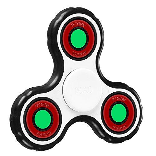 POAO Fidget Spinner Jouet Tri Fidget Hand Spinner Pour Adultes Enfant Doigt Jouet (Blanc-WBRed)