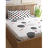 Story@Home 100% Cotton Double Bedsheet With 2 Pillow Covers Combo Set, Mercerized Finish - Metro Series, 186 TC, Cool Dalmatians (Black and White)