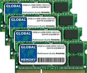 32Go (4x 8Go) DDR31333MHz PC3–10600204-pin SODIMM mémoire RAM Kit pour Intel iMac i5/i7(Mid 2010) & Intel iMac i3/i5/i7(Mid 2011)