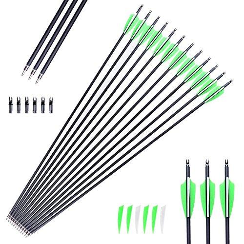 12 Stück Carbonpfeile Pfeil Easton Powerflight mit 4 Zoll Kunsstofffedern Spine 500 (Pfeil 500)
