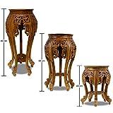 Beistelltisch Nachttisch Rundhocker Blumenhocker Teak Holz Hocker Barock Massiv, Farbe:Braun, Größe:80 cm