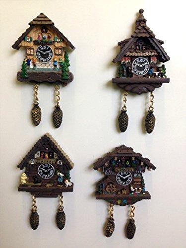 Set von 4Swiss Cottage Kühlschrank Magnete - Cottage, Cuckoo Clock