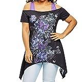 Bellelove Große Größen-Frauen-Schmetterlings-Kalte Schulter-T-Shirt Kurzarm-Oberseiten-Bluse Schwalbe-Tailed Weg von der Schulter Leibchen (Schwarz, 4XL)