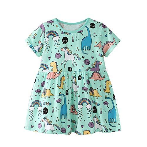 VIKITA Mädchen Baumwolle Langarm Streifen Tiere T-Shirt Kleid JM6825 8T