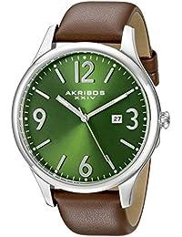 Akribos XXIV Verde Redonda de los hombres reloj de cuarzo, correa de acero y de mano de tres