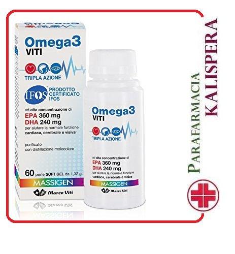 MASSIGEN OMEGA 3 CON EPA e DHA 60 PERLE DA 1,32 g MARCO VITI TRIPLA AZIONE FUNZIONI CARDIACHE, VISIVE, CEREBRALI