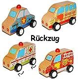 Unbekannt 3 Stück __ Rückzugsauto / Aufziehauto aus Holz - Fahrzeug zum Aufziehen und Fahren / mit Rückzug - Holzfahrzeug Aufziehspielzeug - Polizei - Krankenwagen - Fe..