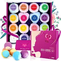 Peradix Bath Bombs 16Pcs Gift Set For Mothers Days, Handmade Natural Spa Bubble Bombs and Floating Fizzies, Relaxation and Moisturizing Bath Gift Pack For Women, Mom, Kids - Non-Irritating/Natural