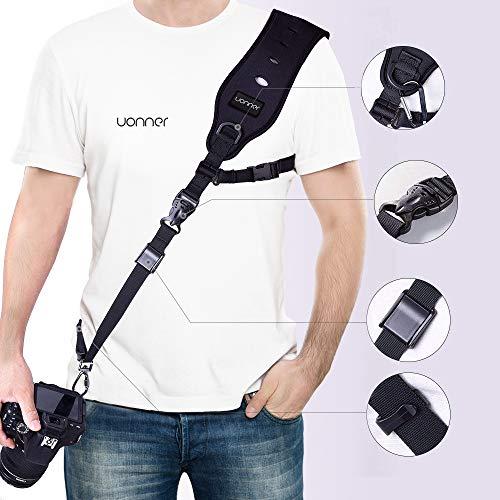 Uonner Kameragurt Schnellverschluss Camera Tragegurt Kamera Schnelle Gurt mit Sicherheits Tether Montageplatte Camera Strap Kamera Schultergurt für Canon Nikon Sony Panasonic Kameras DSLR SLR (Canon-t3i Weiße)