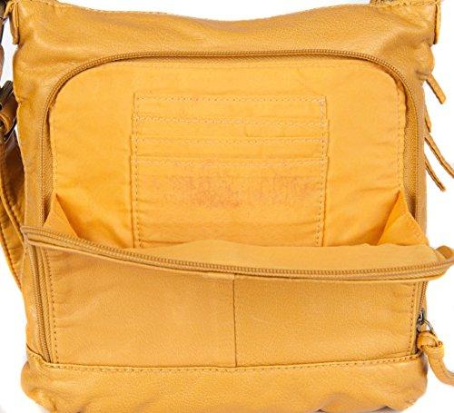 FASHION leggero SOFT TOUCH a tracolla con tracolla borsa colori assortiti GHN5013 Multicolore (Senape)