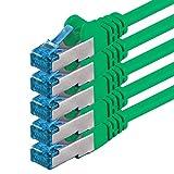 0,5m - verde - 5 piezas - CAT6 Ethernet LAN cable de red SET | 10 / 100 / 1000 / 10000 / Mbit / s | cable patch | CAT6 | S-FTP | Doble blindado | PIMF | 250MHz | halógenos | compatible con CAT 5 / CAT 6a / CAT 7 | para switch, router, módem, Patchpannel, punto de acceso