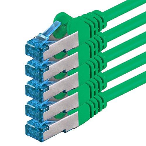 CAT-6-Ethernet-LAN-Netzwerkkabel, 10m, grün, 5Stück, 100/1000/10000/10000MBit/s, Patchkabel, S-FTP, doppelt geschirmt, PIMF, 250MHz, halogenfrei, kompatibel mit CAT 5/CAT 6A/CAT 7, für Switch, Router, Modem, Patchpannel, Zugangspunkt