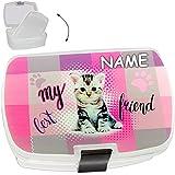 alles-meine GmbH Lunchbox / Brotdose -  süße Katze / Kätzchen  - inkl. Name - mit extra Einsatz / herausnehmbaren Fach - BPA frei - SUPERLEICHT - Brotbüchse Küche Essen - fü..