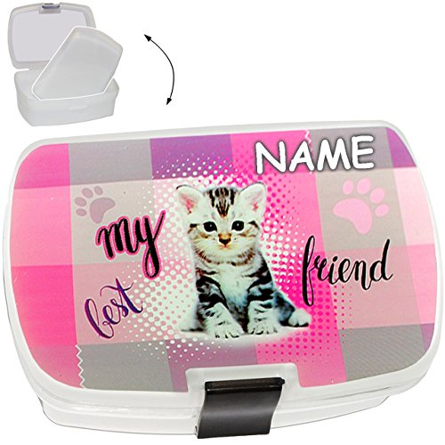 Unbekannt Lunchbox / Brotdose -  süße Katze / Kätzchen  - inkl. Name - mit extra Einsatz / herausnehmbaren Fach - BPA frei - SUPERLEICHT - Brotbüchse Küche Essen - fü..