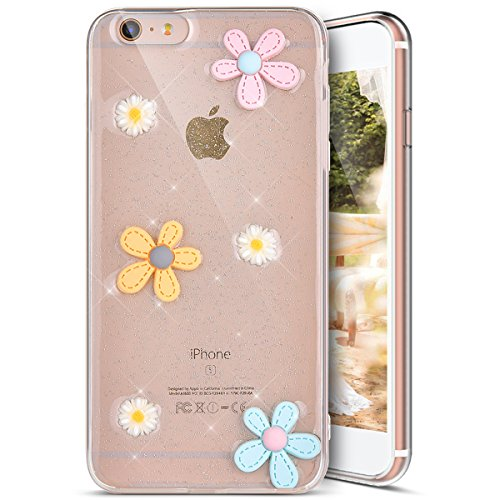 Custodia Cover iPhone 6/6S plus Silicone Morbida,Ukayfe Trasparente Cristallo di Lusso di Bling Glitter Paillettes Disegno per iPhone 6/6S plus Clear Flexible TPU Gel Ultra Sottile Copertura Case Prot Fiore