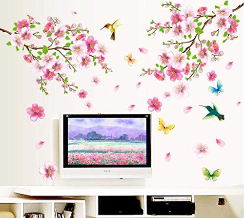 Romantische Rose Peach (SAKNSN Wandaufkleber Große 9158 Elegante Blumen Wandaufkleber Graceful Peach Blossom Vögel Wandaufkleber Einrichtung Romantische Wohnzimmer Dekoration)
