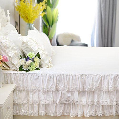 Mädchen Queen-size-betten (brandream Twin/Full/Queen/King Size weiß Luxury Lace Bett Rock Romantische Mädchen Bettwäsche ELEGANTE Teen Skirted Tabelle, baumwolle, B, Twin)