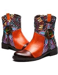 9b220474dace5 Gracosy Bottes Cuir Femmes, Chaussures de Ville Hiver Automne à Talons  Plats Moyens Boots à Bout Rond Santiags…