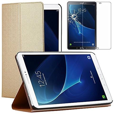 ebestStar - pour Samsung Galaxy Tab A 2016 10.1 T580 T585 (A6) - Etui Smartcase Coque Housse Slim Smart Cover Support haute Solidité + Film Protection d'écran en Verre Trempé, Couleur Or / Doré [Dimensions PRECISES de votre appareil : 254.2 x 155.3 x 8.2 mm, écran 10.1'']